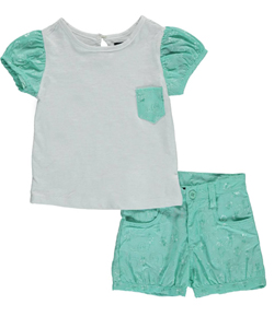 "U.S. Polo Assn. Little Girls' ""Swirl Embroidery"" 2-Piece Outfit (Sizes 4 – 6X) - CookiesKids.com"