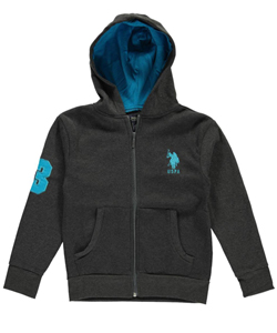 "U.S. Polo Assn. Big Boys' ""Contrast Accent"" Fleece Hoodie (Sizes 8 – 20) - CookiesKids.com"