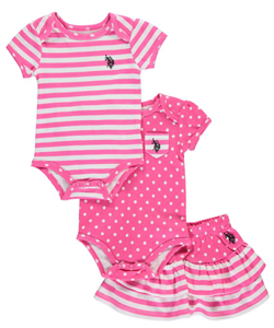 "U.S. Polo Assn. Baby Girls' ""Polka-Trimmed"" 3-Piece Outfit - CookiesKids.com"