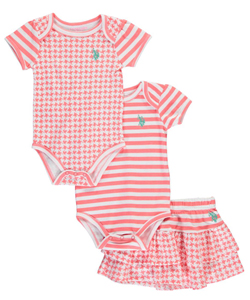 "U.S. Polo Assn. Baby Girls' ""Striped Houndstooth"" 3-Piece Outfit - CookiesKids.com"