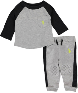 "U.S. Polo Assn. Baby Boys' ""Patched Rush"" 2-Piece Outfit - CookiesKids.com"