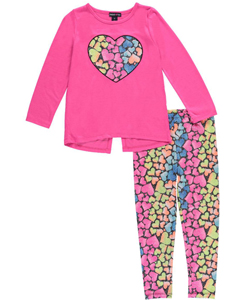 "Limited Too Little Girls' ""Rainbow Heart"" 2-Piece Outfit (Sizes 4 – 6X) - CookiesKids.com"