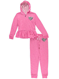 "Limited Too Big Girls' ""Sequin Heart"" 2-Piece French Terry Sweatsuit (Sizes 7 – 16) - CookiesKids.com"