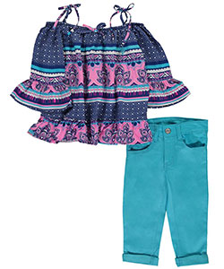 "U.S. Polo Assn. Little Girls' Toddler ""Sanibel Island"" 2-Piece Outfit (Sizes 2T – 4T) - CookiesKids.com"