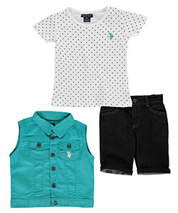 "U.S. Polo Assn. Little Girls' Toddler ""Newly Minted"" 3-Piece Outfit (Sizes 2T – 4T) - CookiesKids.com"