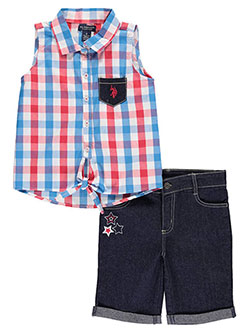 "U.S. Polo Assn. Big Girls'  ""Gingham & Star"" 2-Piece Outfit (Sizes 7 – 16) - CookiesKids.com"