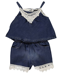 "Limited Too Baby Girls' ""Chambray Overlay"" Romper - CookiesKids.com"
