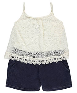 "Limited Too Little Girls' ""Flounced Lace"" Romper (Sizes 4 – 6X) - CookiesKids.com"