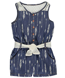 "Limited Too Little Girls' Toddler ""Feather Chambray"" Romper (Sizes 4– 6X) - CookiesKids.com"