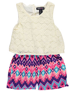 "Limited Too Little Girls' ""Ikat & Lace"" Romper (Sizes 4 – 6X) - CookiesKids.com"