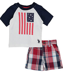 "U.S. Polo Assn. Baby Boys' ""Big Flag"" 2-Piece Outfit - CookiesKids.com"