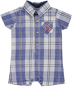 "U.S. Polo Assn. Baby Boys' ""Plaid Crawl"" Romper - CookiesKids.com"