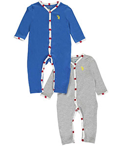 "U.S. Polo Assn. Baby Boys' ""Striped Piping"" 2-Pack Coveralls - CookiesKids.com"
