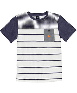 "U.S. Polo Assn. Big Boys' ""Chambray Pocket on Stripes"" T-Shirt (Sizes 8 – 20) - CookiesKids.com"