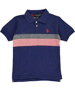 "U.S. Polo Assn. Little Boys' ""Chambray Connection"" Pique Polo (Sizes 4 – 7) - CookiesKids.com"