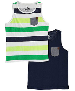"American Hawk Big Boys' ""Chambray Pop"" 2-Pack Tank Tops (Sizes 8 – 20) - CookiesKids.com"
