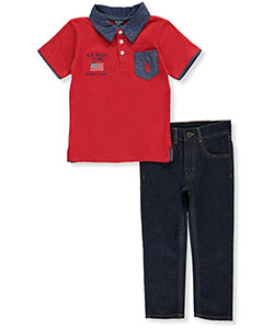 "U.S. Polo Assn. Little Boys' ""Chambray Points"" 2-Piece Outfit (Sizes 4 – 7) - CookiesKids.com"