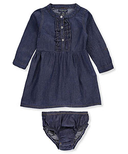 "U.S. Polo Assn. Baby Girls' ""Mandarin Placket"" Dress with Diaper Cover - CookiesKids.com"