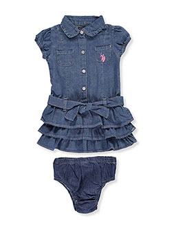 "U.S. Polo Assn. Baby Girls' ""Belted Tiers"" Dress with Diaper Cover - CookiesKids.com"