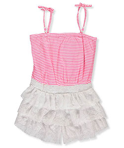 "Pinkhouse Big Girls' ""Tiered & Beaded"" Romper (Sizes 7 – 16) - CookiesKids.com"