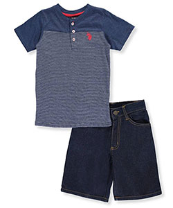 "U.S. Polo Assn. Little Boys' ""Thinly Striped"" 2-Piece Outfit (Sizes 4 – 7) - CookiesKids.com"