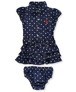 "U.S. Polo Assn. Baby Girls' ""Polka Hearts"" Dress with Diaper Cover - CookiesKids.com"