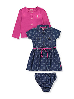 "U.S. Polo Assn. Baby Girls' ""Dottie"" Dress with Diaper Cover - CookiesKids.com"