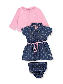 "U.S. Polo Assn. Baby Girls' ""Snowflake Chambray"" 3-Piece Outfit - CookiesKids.com"