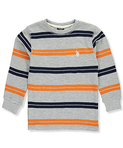 U.S. Polo Assn. Little Boys' Toddler Thermal Stripe L/S Shirt (Sizes 2T – 4T) - CookiesKids.com