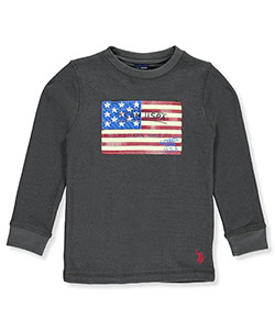U.S. Polo Assn. Little Boys' L/S Waffle Shirt (Sizes 4 – 7) - CookiesKids.com