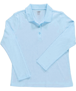 French Toast Big Girls' Knit L/S Polo Shirt with Picot (Sizes 7 - 16) - CookiesKids.com