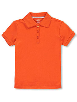 French Toast Little Girls' S/S Fitted Knit Polo with Picot Collar (Sizes 2T - 6X) - CookiesKids.com
