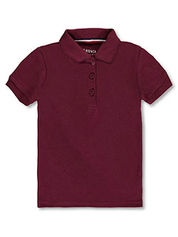 French Toast Big Girls' S/S Fitted Knit Polo With Picot Collar (Sizes 7 - 16) - CookiesKids.com