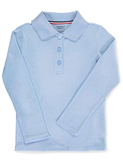 French Toast Big Girls' L/S Fitted Knit Polo With Picot Collar (Sizes 7 - 16) - CookiesKids.com