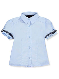 French Toast Little Girls' Bow Stitch Trim S/S Button-Down (Sizes 4 – 6X) - CookiesKids.com