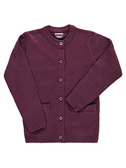 "French Toast Little Girls' ""Crewneck & Welt Pocket"" Cardigan (Sizes 4 – 6X) - CookiesKids.com"