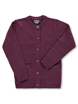 "French Toast Big Girls' ""Crewneck & Welt Pocket"" Cardigan (Sizes 7 – 20) - CookiesKids.com"