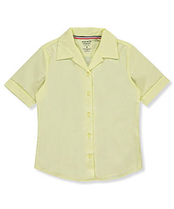 French Toast Big Girls' S/S Notched Collar Blouse (Sizes 7 - 16) - CookiesKids.com