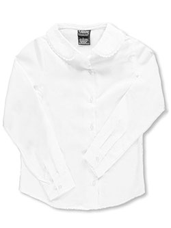 French Toast Big Girls' L/S Blouse with Lace Edging (Sizes 7 - 20) - CookiesKids.com