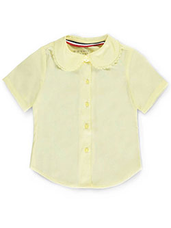 French Toast Big Girls' S/S Peter Pan Lace Trim Blouse (Sizes 7 - 16) - CookiesKids.com