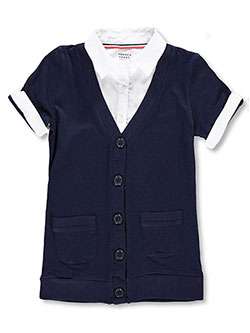 French Toast Big Girls' S/S Blouse/Cardigan Combo Top (Sizes 7 - 16) - CookiesKids.com