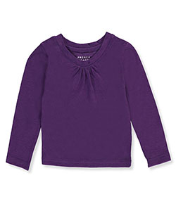 French Toast Baby Girls' Ruched Crewneck L/S T-Shirt - CookiesKids.com