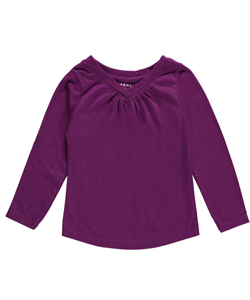 "French Toast Baby Girls' ""Ruched V-Neck"" L/S T-Shirt - CookiesKids.com"