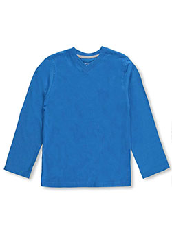 "French Toast Little Boys' Toddler ""Ribbed V-Neck"" L/S T-Shirt (Sizes 2T – 4T) - CookiesKids.com"