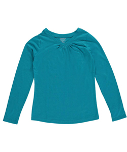 "French Toast Big Girls' ""Ruched V-Neck"" L/S T-Shirt (Sizes 7 - 16) - CookiesKids.com"
