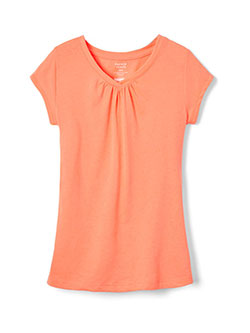 "French Toast Little Girls' Toddler ""Ruched V-Neck"" T-Shirt (Sizes 2T – 4T) - CookiesKids.com"