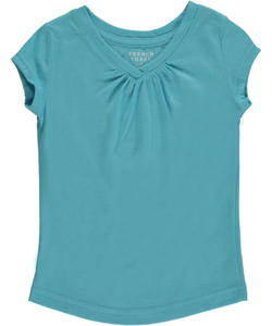 French Toast Little Girls' Ruched V-Neck T-Shirt (Sizes 4 – 6X) - CookiesKids.com
