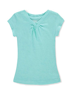 "French Toast Little Girls' ""Ruched V-Neck"" T-Shirt (Sizes 4 – 6X) - CookiesKids.com"