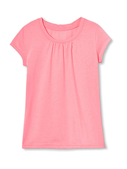 "French Toast Little Girls' ""Ruched Crewneck"" T-Shirt (Sizes 4 – 6X) - CookiesKids.com"