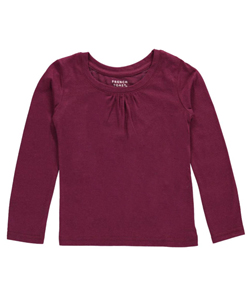 "French Toast Little Girls' Toddler ""Ruched Crewneck"" L/S T-Shirt (Sizes 2T – 4T) - CookiesKids.com"